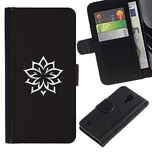 Billetera de Cuero Caso Titular de la tarjeta Carcasa Funda para Samsung Galaxy S4 IV I9500 / Ink Tattoo Minimalist Black White / STRONG