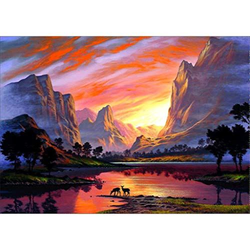 Baulody Art 5D Wall Art African Landscape Sunset Tree Print Painting Home Decor Modern Artwork for Savanna - Sunset Picture Artwork for Living Room Ready to Hang Sunny Colours of Africa (Yellow)