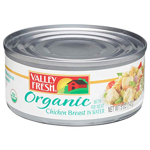 Valley Fresh Organic Canned Chicken Breast with Rib Meat in Water, 5 Ounce (Pack of ()