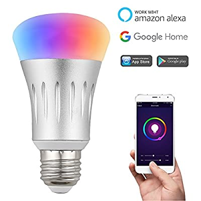 WiFi Smart Light Bulb, Leadream LED Household Light Bulb Smartphone Controlled 7W (60W Equivalent), RGB Multicolor dimmable with Timer, Compatible with Alexa& Google Home Assistant