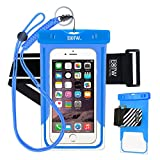 EOTW Waterproof Cell Phone Case Dry Bag Pouch Pocket With Armband Case For iPhone 6 6S Plus 5S SE Samsung Galaxy S4 S5 S6 S7 Edge Note 5 LG G3 G4 G5 HTC One Blu Lumia Moto For Diving Surfing - Blue