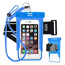 EOTW Waterproof Cell Phone Case Dry Bag Pouch Pocket With Armband Case For iPhone 6 6S Plus 5S SE Samsung Galaxy S4 S5 S6 S7 Edge Note 5 LG G3 G4 G5 HTC One Blu Lumia Moto For Diving Surfing - Blue + 2 Bands
