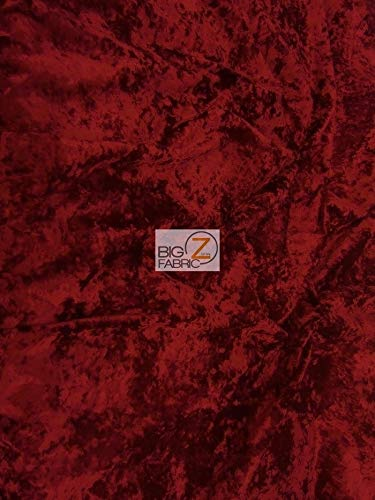 - Big Z Fabric Crush Flocking Upholstery Velour Velvet Fabric by The Yard DIY Upholstery Furniture Drapery Clothing (Dark Red)
