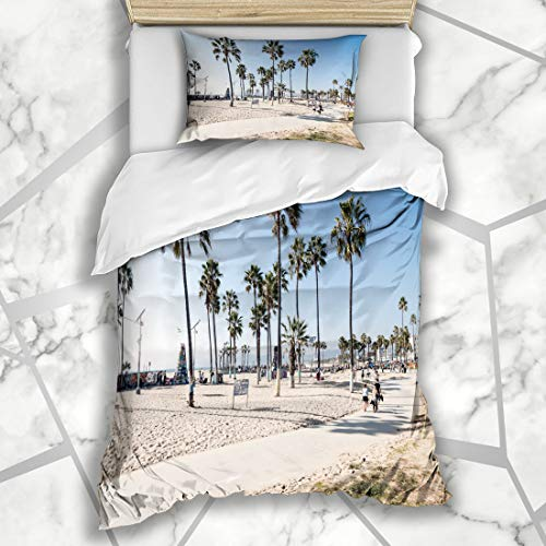 Ahawoso Duvet Cover Sets Twin 68X86 Sun Blue California Venice Beach Los Angeles Paradise Parks Palm Skate Summer Road Sky Microfiber Bedding with 1 Pillow Shams