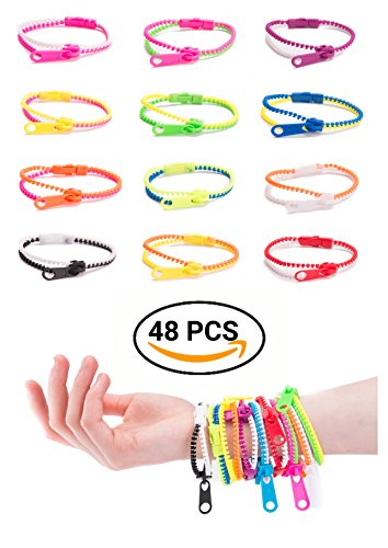 UpBrands Friendship Fidget Zipper Bracelets 48 Pack 7 Inch Bulk Set Neon Colors, Kit for Birthday, Party Favors for Kids, Goodie Bags, Easter Egg Basket Stuffers, Pinata Filler, Small Toys (Halloween Goodie Bag Ideas For Adults)