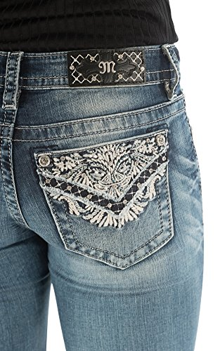 Miss Me Lace 7 Rhinestone Mid-Rise Bootcut Jeans in Extended Size 32,33 & 34 (33)