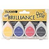 Tsukineko 4-Pack Brilliance Dew Drop Inkpads, Basics color set