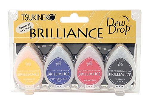 - Tsukineko 4-Pack Brilliance Dew Drop Inkpads, Basics Color Set