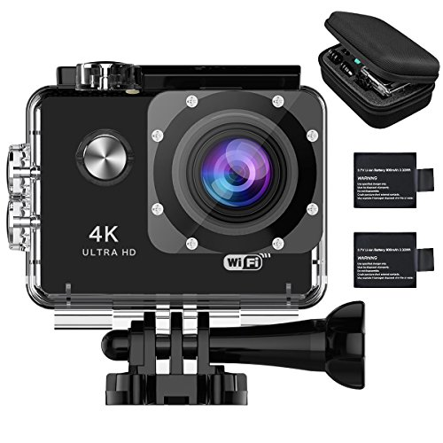 Aokon AM70 4K Slow Motion Underwater Action Camera WiFi 2.0 LCD Ultra HD Video 16MP 170 Wide Angle Lens Dual Screens Waterproof Sports Cam with 2 Batteries Portable Package and Full Accessories Kits AOKON