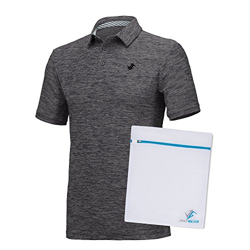 Performance Mens Golf Polo (Jolt Gear Mens Dry Fit Golf Polo Shirt, Athletic Short-Sleeve Polo Golf Shirts, Black/Grey (Laundry Bag included))