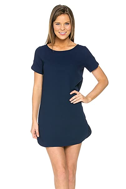 b4bdd3a7ea8 Shopglamla Curved Hem Short Sleeve Shift Dress Navy L at Amazon Women s  Clothing store