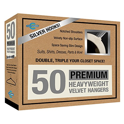 Closet Complete Premium Quality, True-Heavyweight, 80-gram, Virtually-UNBREAKABLE Velvet Hangers, Ultra-Thin, Space Saving, No Slip Hangers, Best for SUIT, Dress, Pants, Shirt, 360° Spin, CHROME Hooks, Ivory Set of 50