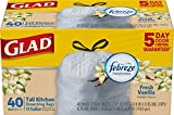 Glad OdorShield Drawstring Tall Kitchen Trash Bags, Fresh Vanilla, 13 Gallon, 40 Count (Packaging May Vary)