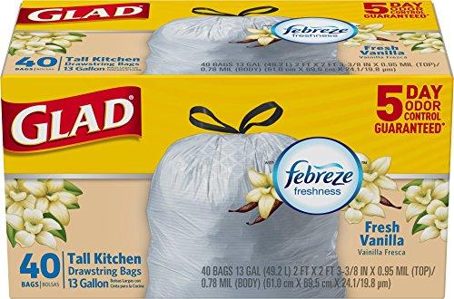 Gal Trash Receptacle (Glad OdorShield Drawstring Tall Kitchen Trash Bags, Fresh Vanilla, 13 Gallon, 40 Count (Packaging May Vary))