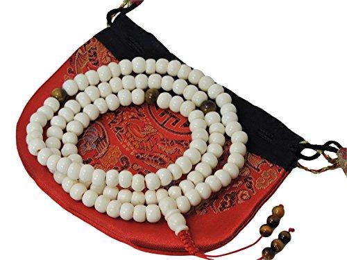- Yak Bone Mala 108 Beads with Tiger Eye Spacers