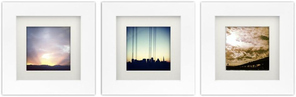 Tiny Mighty Frames 3-Set, Wood Square Instagram Photo Frame, 6x6 (5.5x5.5 Window), 4x4 Mat (3.75x3.75 Window), Hanging (3, White)