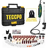 Upgraded Rotary Tool TECCPO 1.8 amp, 10000-40000RPM, 6 Variable Speed with 7 Attachments, Universal Keyless Chuck, 120…
