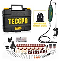 Upgraded Rotary Tool TECCPO 1.8 amp, 10000-40000RPM, 6 Variable Speed with 7 Attachments, Universal Keyless Chuck, 120 Accessories Ideal for Crafting and DIY