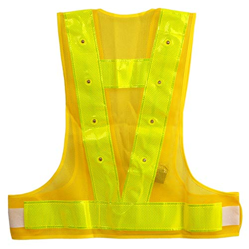 LED Reflective Vest Safety Outdoor Running High Visibility Reflector Clothing for Men, Women Best for Jogging, Biking, Walking, Motorcycle (Yellow LED Reflective Vest) (Lights Vests Safety)