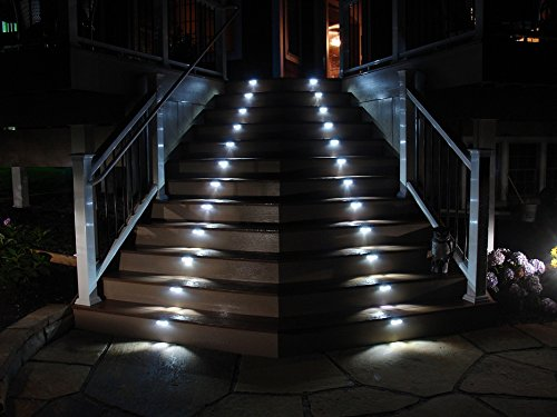 Hoont Pack Of 4   Outdoor Stainless Steel LED Solar Step Light; Illuminates  Stairs, Deck, Patio, Etc     Amazon.com