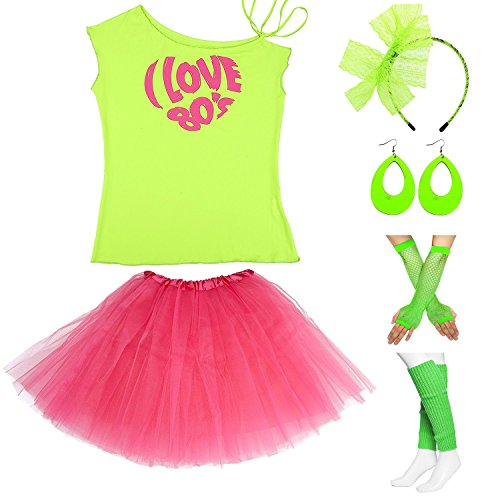 Womens 80s Accessories, I Love The 80's / 80s Pop/Sexy Lips Shoulder T-Shirt Outfit/Tutu Skirt/Neon Fanny Packs for 1980s Party Costume,S2,Green Love,XL ()