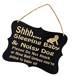MagiDeal Shhh Sleeping Baby & Noisy Dog Please Do Not Knock or Ring Bell Unless you're going to baby sit - Baby Sleeping Sign - Baby Shower Gift