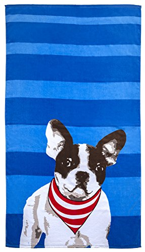 French Beach Towel - Revere Mills Bright-Striped with French Bulldog Beach Towel, Frenchie