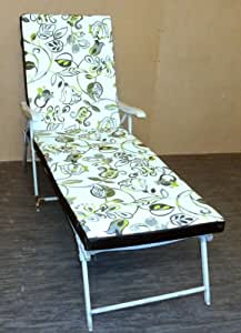 Zippy Sunbed Lounger Cushion - Lime Scroll + Waterproof Backing - To fit Garden Furniture