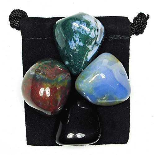The Magic Is In You New Beginnings Tumbled Crystal Healing Set with Pouch & Description Card - Blue Chalcedony, Bloodstone, Moss Agate, and Obsidian ()