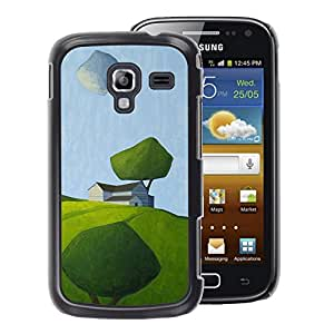 A-type Arte & diseño plástico duro Fundas Cover Cubre Hard Case Cover para Samsung Galaxy Ace 2 (Modern Art Painting Green Field Summer)