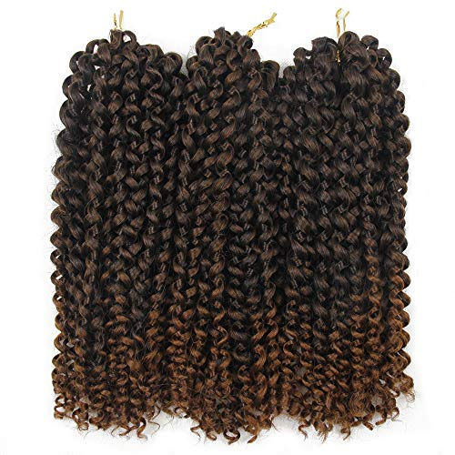3Pcs/lot Jerry Curl Crochet Braids Hair Extensions Freetress Water Wave For Women Synthetic Crochet Braiding Hair Bundles (10 inch,#T1B/30)