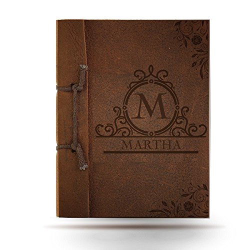 Brown Antiqued Leather Notebook with 1 Engraved Initial + 1 Engraved Name + 1 Engraved Message