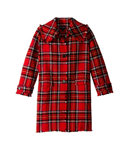 OSCAR DE LA RENTA Childrenswear Girl's Button Up Plaid Wool Jacket (Big Kids) Poppy Multi Red (Big Button Wool Coat)
