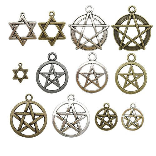 Halloween Pendant Charm (100g about 45-50pcs Craft Supplies Mixed Pendants Beads Charms Pendants for Crafting, Jewelry Findings Making Accessory For DIY Necklace Bracelet M11 (Hexagram Star charms))
