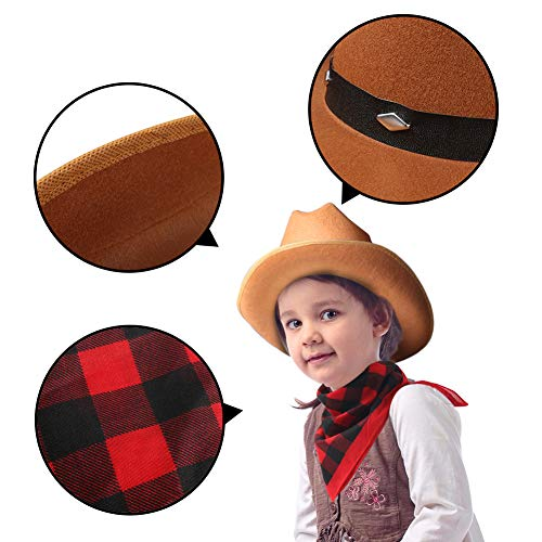 Amor Brown Cowboy Hat with Buffalo Cowboy Bandana for Kids, Best Decorations for Halloween, Christmas, Birthday and Masquerade Party