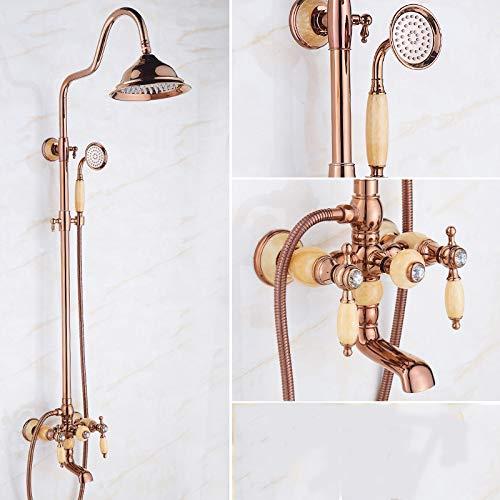 O Hlluya Professional Sink Mixer Tap Kitchen Faucet golden Jade shower head shower set full brass faucets cold water faucet antique bathroom shower, lift