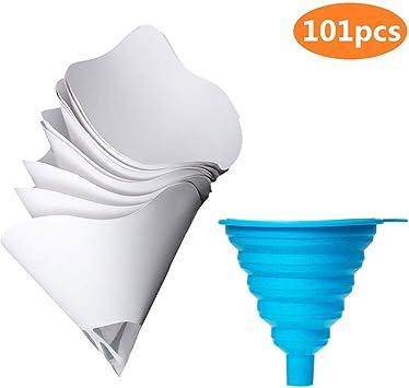 Jeteven 100 Pcs Disposable Paper Paint Strainers nylon mesh Paint Filter Update Version With 3 Pcs Brush