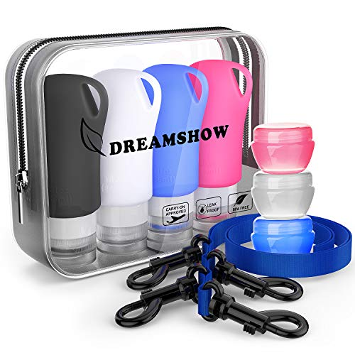 Silicone Travel Bottles,TSA Approved Travel Size containers for toiletries,Leak proof Travel Shampoo And Conditioner Bottles With Shower Lanyard, Travel Accessories (Refillable Bottle Keychain)