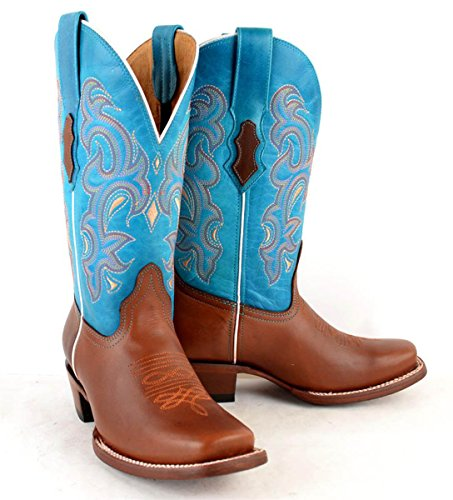 Turquoise Womens Hide Western cowgirl cowboy Tan Boots Cow Rodeo Genuine Leather 7nZ6vq