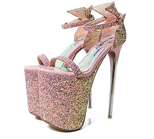 Club forme Pour 41 De La Aiguille 35 Femmes Plate Talon Robe Taille Paillettes Xie Chaussures eu35 Pink Sangle Fête Cheville À Pompe OHAqXX