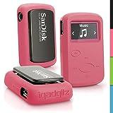 iGadgitz Pink Rubber Silicone Case for Sandisk Sansa Clip Jam MP3 SDMX26-008G (2015) Gel Skin Cover