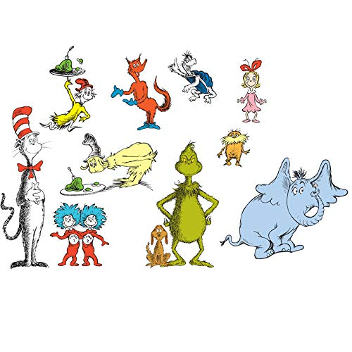 BirthdayExpress Dr Seuss Room Decor - Removable Wall Decorations -
