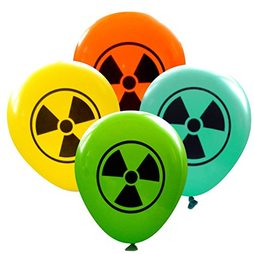 Radioactive Symbol Balloons (16 pcs) by Nerdy Words (Lime, Aqua, Yellow, Orange) -
