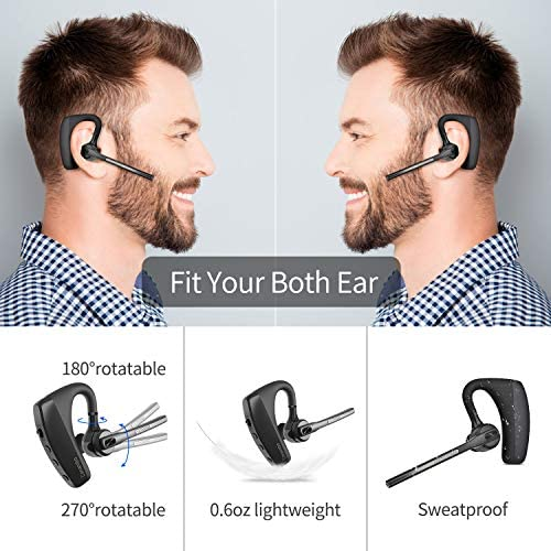 Bluetooth Headset 5.0 with CVC8.0 Dual Mic Noise Cancelling Bluetooth Earpiece 16Hrs Talktime Wireless Headset Hands-Free Earphone for Truck Driver iPhone Android Cell Phones