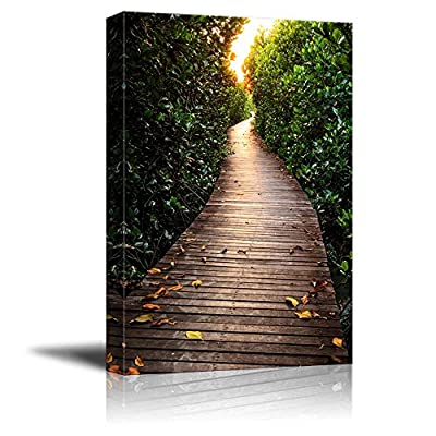 Canvas Prints Wall Art - Beautiful Scenery/Landscape Wooden Bridge in Mangrove Forest | Modern Wall Decor/Home Decoration Stretched Gallery Canvas Wrap Giclee Print & Ready to Hang - 32