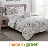 WonderHome 5-pc. Floral Cotton Comforter Set, 2018 Trending Design Luxury Bedding Set Overfilled with Plush Polyester, Oversized, Medium Weight, King, 106''x96''