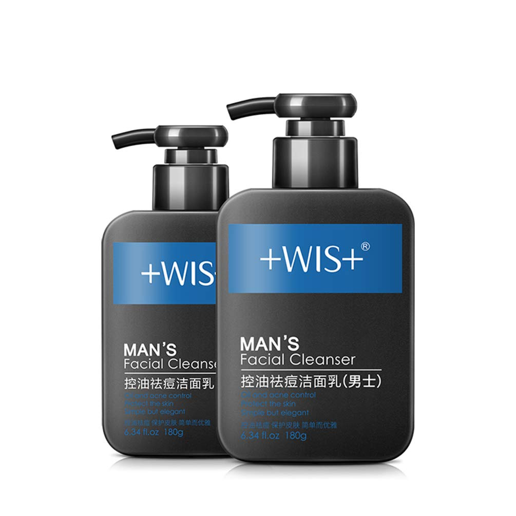 WIS Men's Face Wash Oily Skin,Nature Charcoal Facial Cleanser Deep Cleaning Sensitive Skin,Anti-Acne,Remove Blackheads,Oil Control,Per 6.34 Fl.oz of 2 Packs