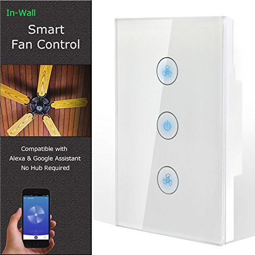 Control Gang (Smart Fan Speed Control Compatible with Alexa and Google Assistant, IFTTT, Wifi Enabled Variable Ceiling Fan Switch, In Wall, Touch Panel, No Hub Required)