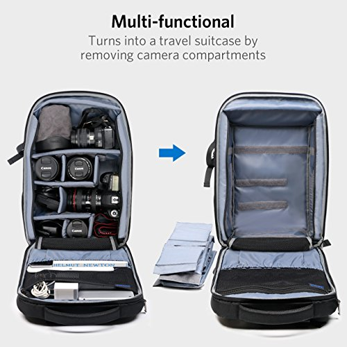 Inateck 3 in 1 DSLR Camera/15.6 Inch Laptop/Travel Backpack, Multifunctional Water Resistant Rucksack with Suitcase Design, Rain Cover and Tripod Holder, Black by Inateck (Image #1)