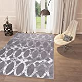 "Black and White Grey Distressed Distorted Trellis Area Rug 3'3"" x 5′ Casual Modern Rug for Dining Living Room Bedroom Easy Clean Carpet Review"